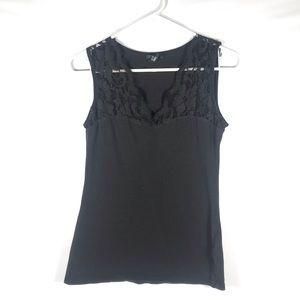 H&M Black V Neck Lace Tank